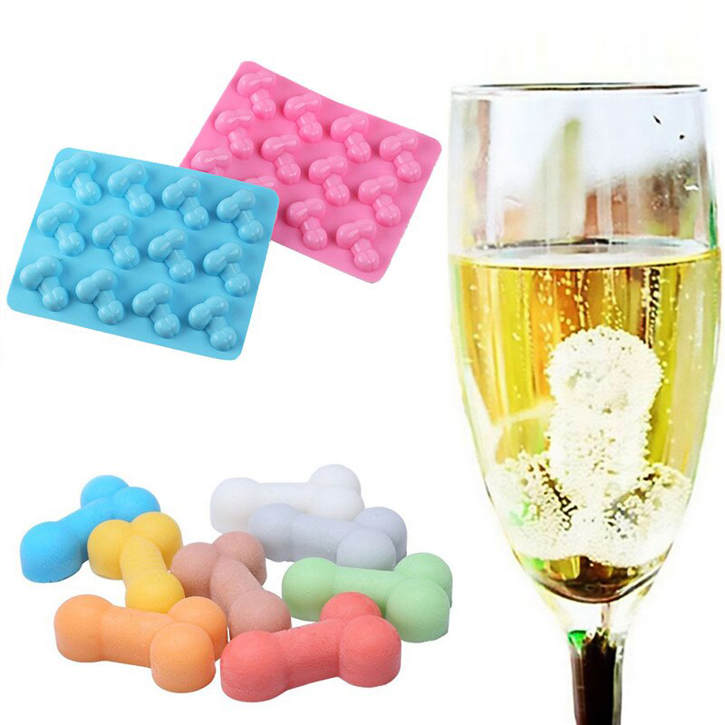Cheerful Sexy Penis Cake Mold Dick Ice Cube Tray Silicone Mold Soap Candle Moulds Sugar Craft Tools Bakeware Chocolate Moulds