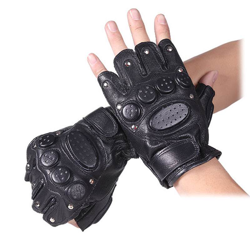 Semi-fingered hunting gloves wear-resistant non-slip leather gloves military fans outdoor CS tactical equipment fishing climbing