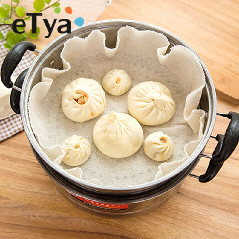 50cm Reusable Natural Pure Cotton Bamboo Steamer Cloth Fabric Round Steamers Rack Gauze Pad Pastry Baozi Jiaozi Buns Dumpling