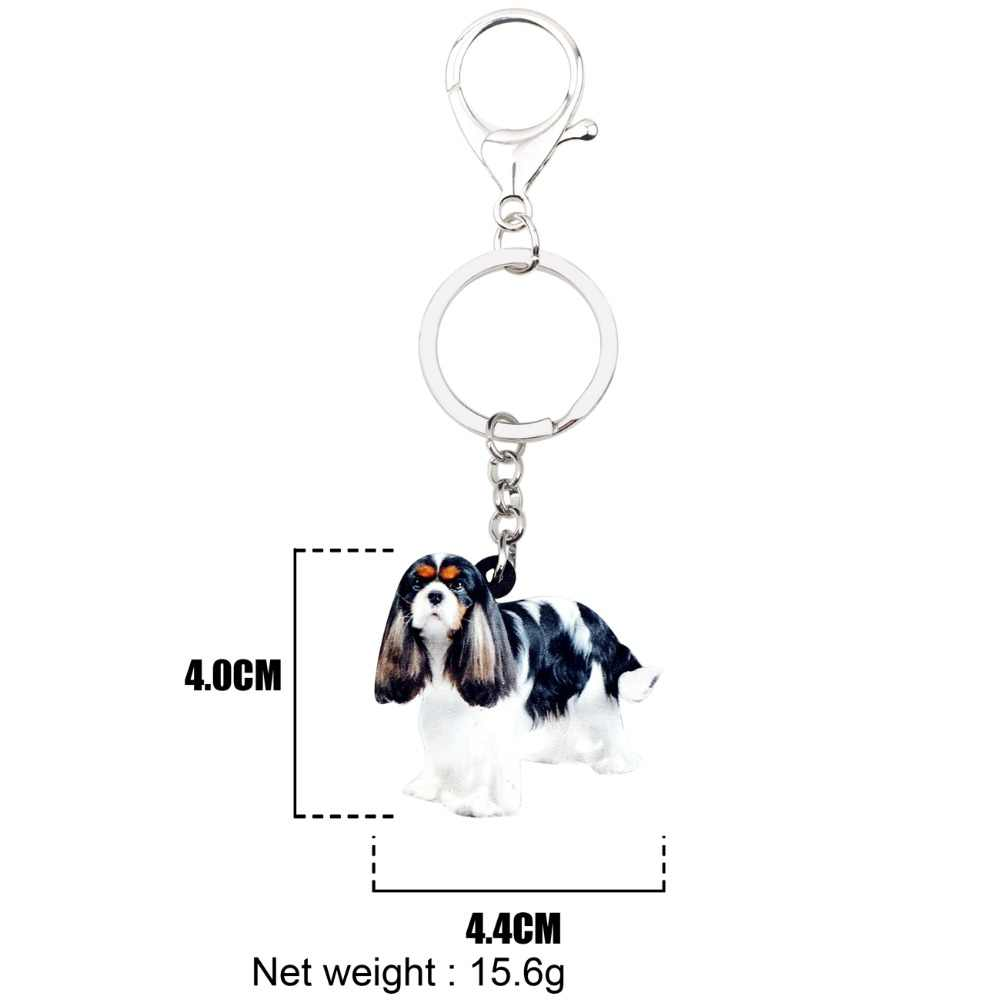WEVENI אקריליק קבלייר קינג צ 'ארלס ספנייל כלב מפתח שרשרות מחזיקי מפתחות טבעות תכשיטים לנשים בנות מתנת ארנק קסמי בעלי החיים חם