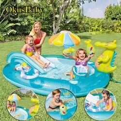 Летний надувной аквапарк для детей, для дома, сада, веселья, лужайки, горки, бассейны, крокодил, спрей, разбрызгиватель воды для детей, для пла...