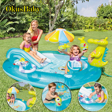 Summer Inflatable Water Park Children Home Garden Fun Lawn Slides Pools Crocodile Spray Sprinkler For Baby Swimming Play