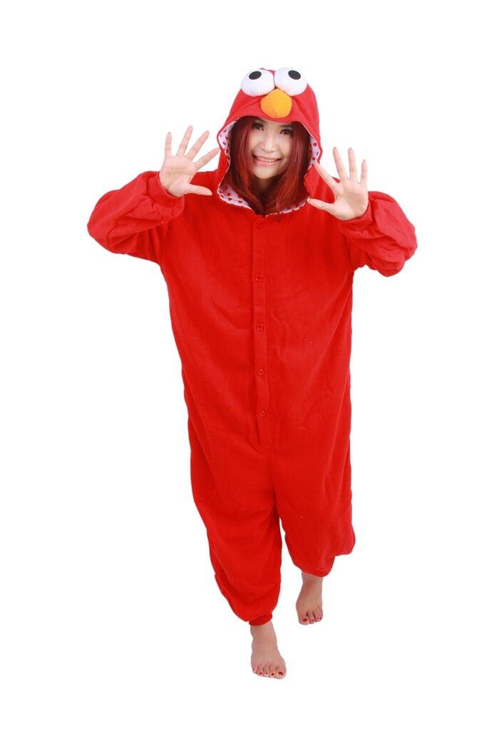 Unisex Fleece Adult Elmo Onesies Animal Cosplay Costume Halloween Xmas Pajama