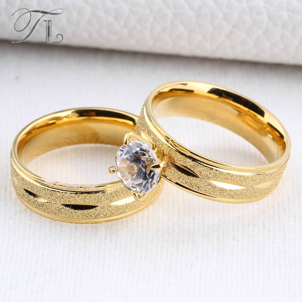 tl gold color stainless steel engagement pair rings fashion design