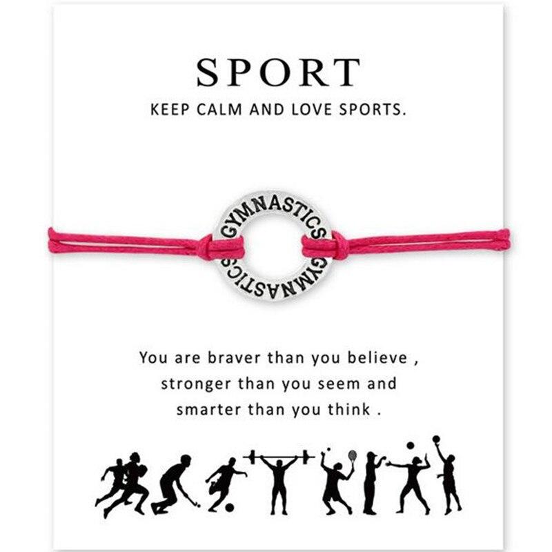 "Silver Round ""Gymnastics"" Wish Card Bracelet For Women Girl Men Jewelry Gift 10pcs/lot"