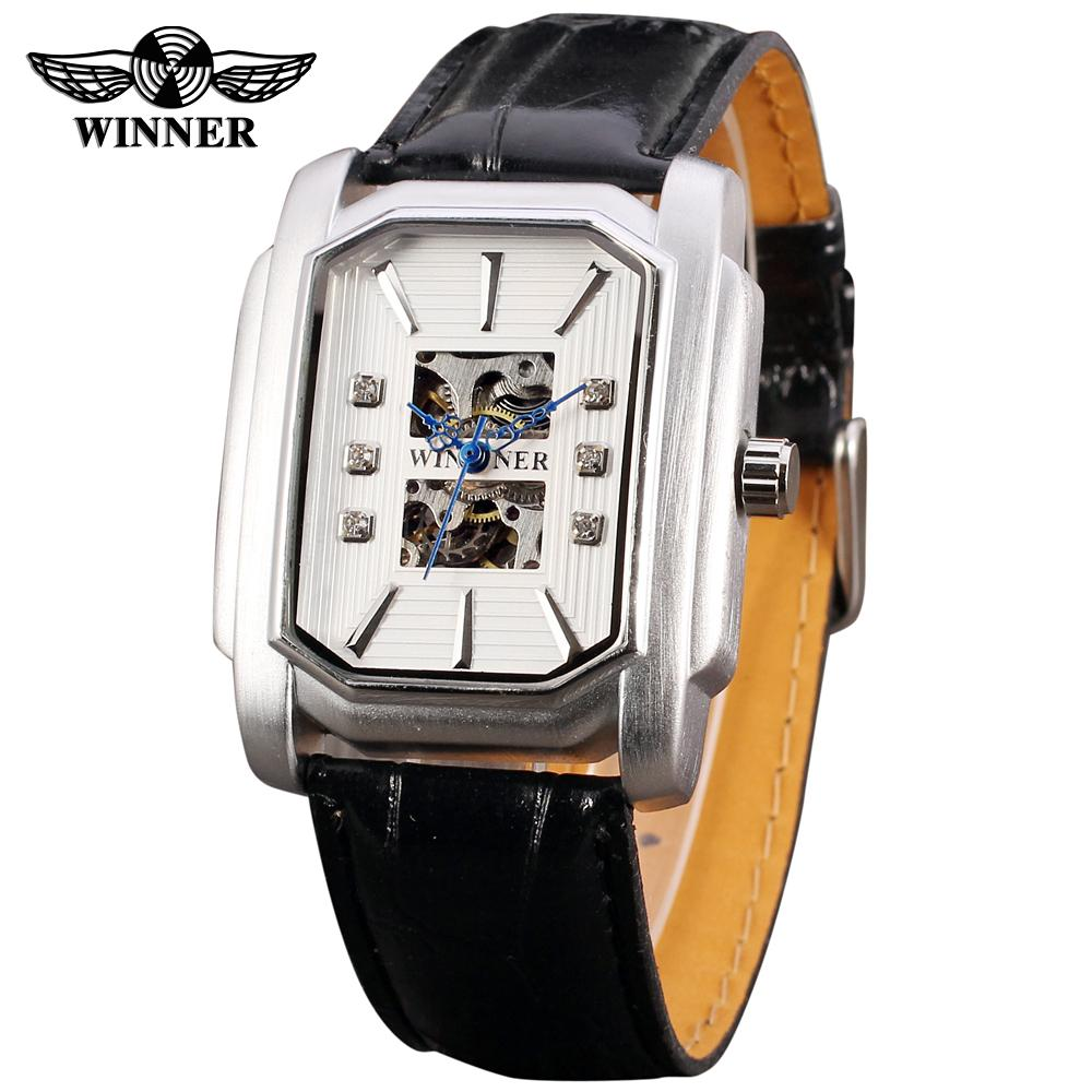 Fashion WINNER Men Luxury Brand Rectangle Skeleton Leather Band Watch Automatic Mechanical Wristwatches Gift Box Relogio Releges 2016 winner watches women lady luxury brand skeleton automatic mechanical wristwatches artificial leather band relogio feminino