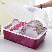 YI HONG Draining Shelf With Transparent Cover Kitchen Practical Dishes Storage Rack Lid Dish Drainer Double Layer A1224c
