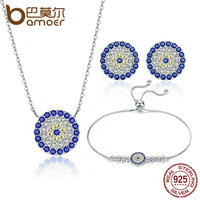 BAMOER Authentic 925 Sterling Silver Trendy Round Blue Eyes Clear CZ Tennis Bracelets Necklaces Earrings For