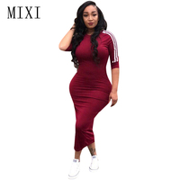 MIXI Plus Size Women Summer Dress 2018 O Neck Half Sleeve Striped Casual Party Dress Streetwear