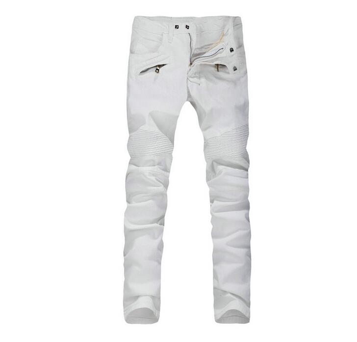 ФОТО Hot 2016 New Arrival Four Season Mens Jeans,Retail Wholesale motorcycle Slim Straight Pants White Color Brand Cotton Jeans Men
