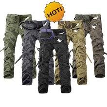 цена на HOT Army Military Cotton Straight Multi Pocket Cargo Pants Men Tactical Camo Baggy Outdoor Climbing Ski Pants Plus Size 28-42