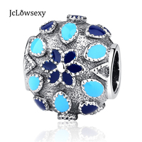 Authentic 100 925 Sterling Silver Beads Cathedral Rose Enamel Silver Charms Fit Women Pandora Bracelets Bangles