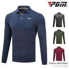 PGM autumn winter Men's golf sportswear Outdoor Men long-sleeved button collar Golf T-shirt breathable Modal golf POLO shirt