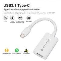 BESTATIME Alta Velocidade 10 Gbps USB 3.1 Tipo C Macho para HDMI Cabo Adaptador de Carregador de Sincronização de Dados Cabo de Carregamento