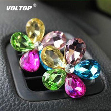 Crystal Flower Car Accessories for Girls Ornaments Decoration Dashboard Pendant Air Conditioner Outlet  Perfume Interior Decor