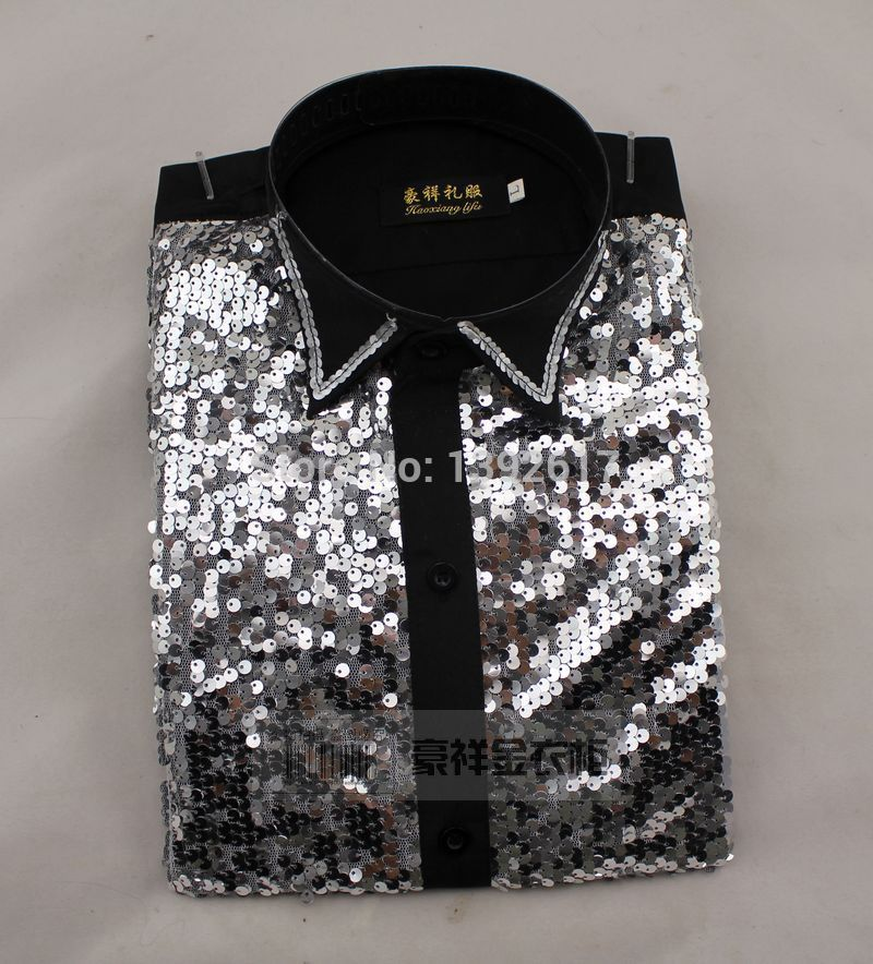 Free ship men sequins black/golden tuxedo shirt tuxedo shirt ...