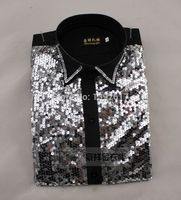 Free ship men sequins black/golden tuxedo shirt tuxedo shirt