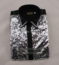 Freies schiff männer pailletten schwarz/goldene tuxedo shirt tuxedo shirt