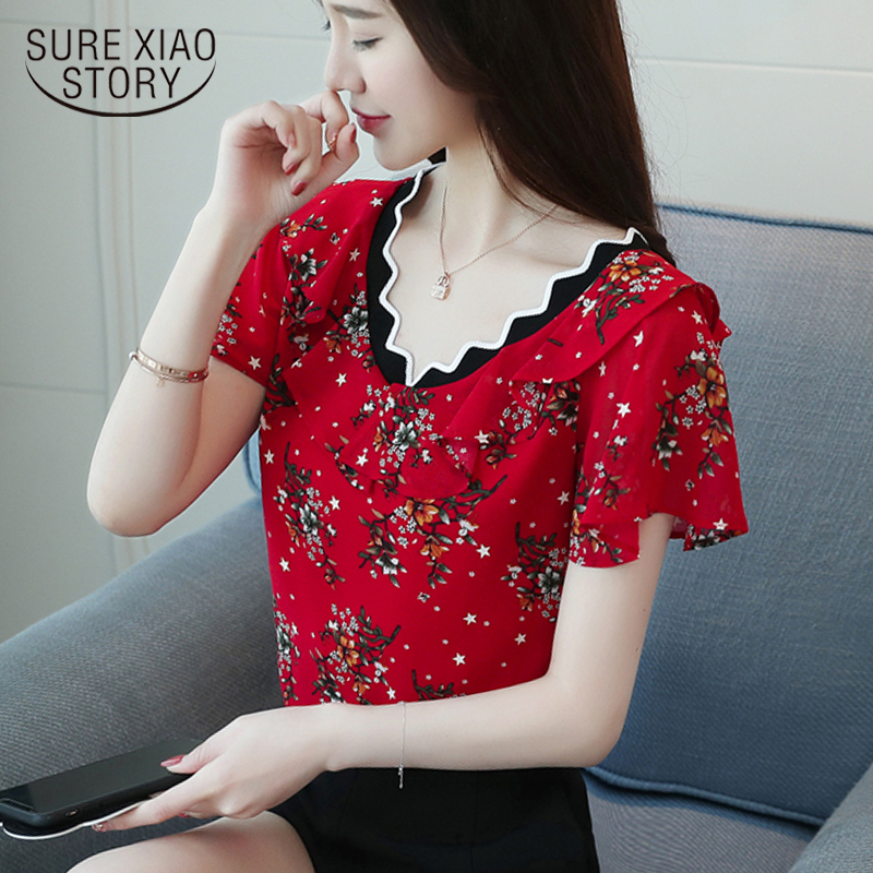 New 2018 Summer Casual Floral Chiffon Women   Blouse     Shirt   Female Short Sleeve Slim Retro V Collar Tops Clothes Blusas 0573 40