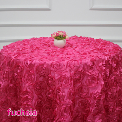 rosette table cloth Fuchsia colour rosette embroider table cover 3D rose flower for wedding hotel party round tables decoration