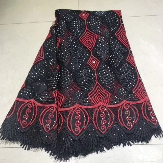 Black Nigerian Lace Fabric For Party Dress 2019 Latest Design Cotton African Lace Fabrics French Swiss Voile Lace 5 Yards