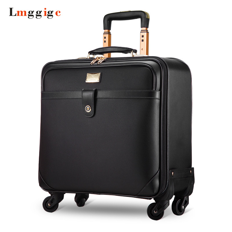 16 Inch Business Boarding Suitcase Box,Customs Lock Rolling Portable Luggage Laptop Bag,Fashion Trolley Case, Caster Valise