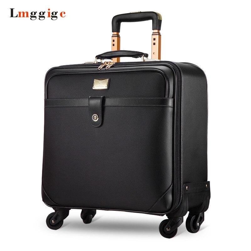 Boîte de valise d'embarquement d'affaires de 16 pouces, pochette d'ordinateur Portable de bagage de roulement de serrure de douane, boîtier de chariot de mode, valise de roulette