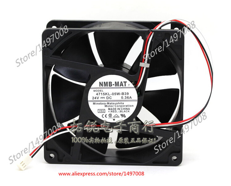 Free Shipping For NMB 4715KL-05W-B39, V02  DC 24V 0.36A 3-wire 3-pin 120mm connector, 120x120x38mm Server Square fan gotcha gotcha go021emjrq38