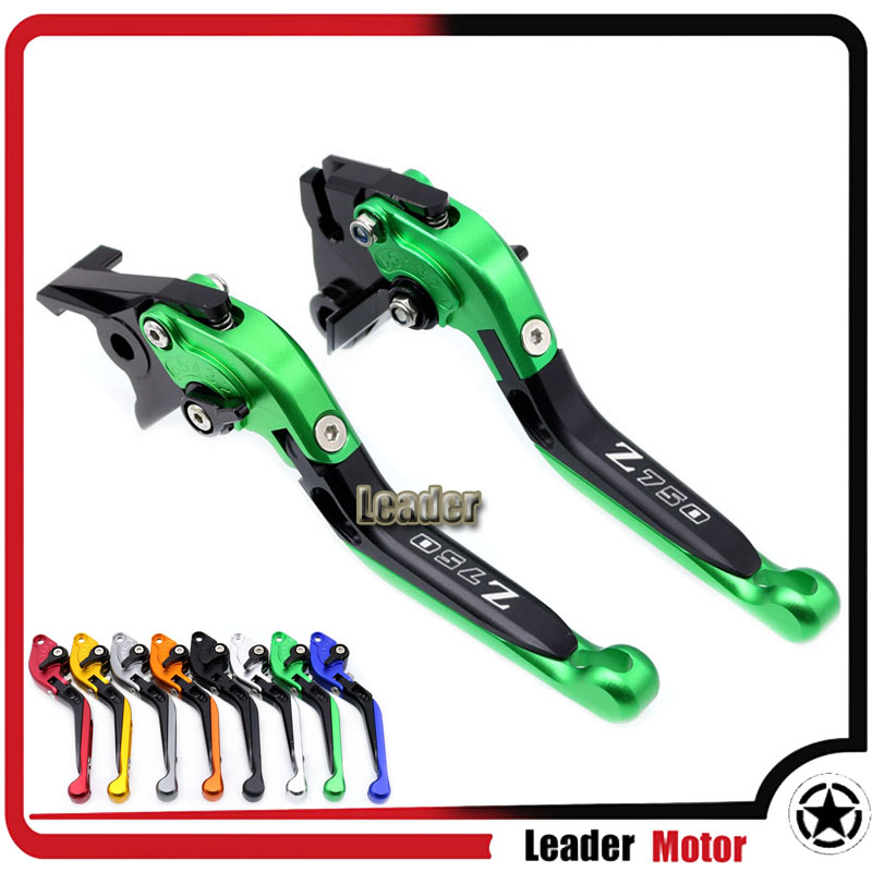 For KAWASAKI Z750 Z 750 2007-2012 Motorcycle Accessories Folding Extendable Brake Clutch Levers LOGO Z750 Green