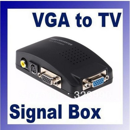 Retail Brand New Universal PC VGA to TV AV RCA Signal Adapter Converter Video Switch Box Supports NTSC PAL system