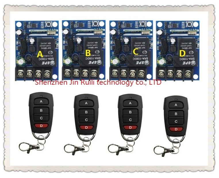 New DC12--48V 12V 24V 36V 48V 1CH 10A RFWireless remote control switch System 4Transmitter +4Receiver Learning code цена