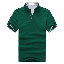 Summer New Short Sleeve V-neck T-shirt Fashion Causal Slim Green Solid Color Polo Shirts