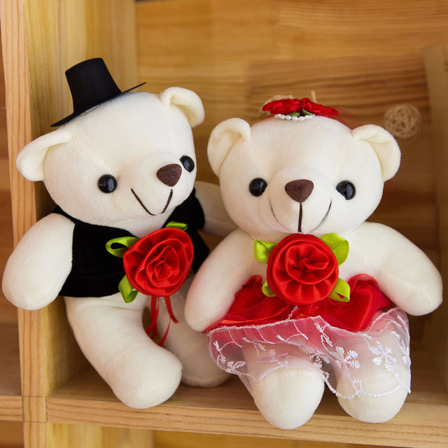 2PCS Couple Bear 20cm Wedding Gifts Teddy Bear Bride & Groom Valentine's Day Gifts Couples Plush