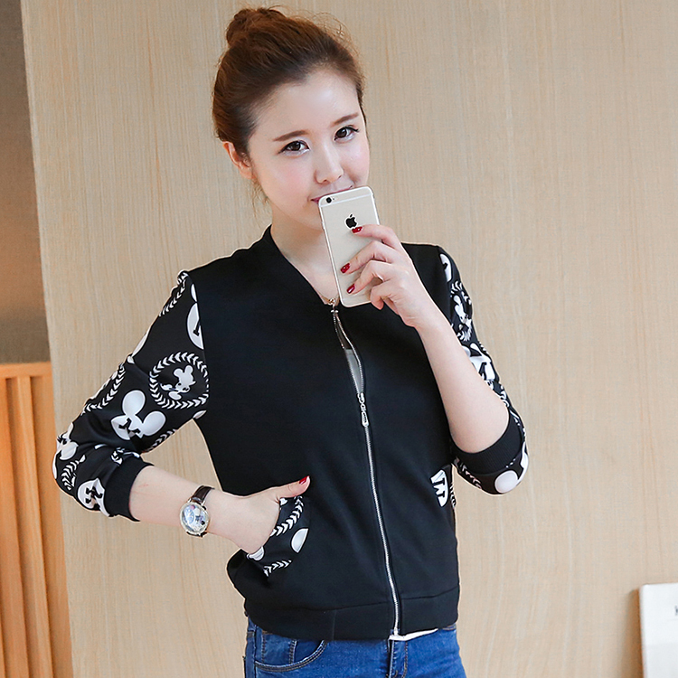 Black white Autumn winter cotton slim Baseball Jacket Zipper casual Coat big Size S 3XL student girl jackets clothes in Jackets from Women 39 s Clothing