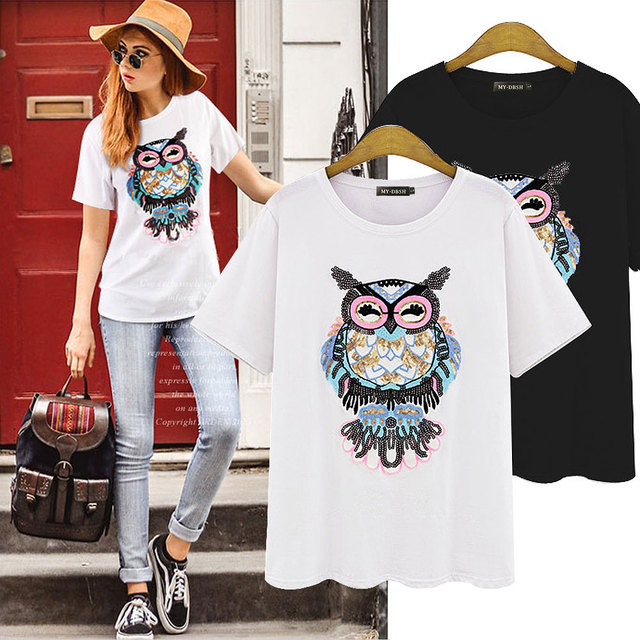 2018 Summer T Shirt Women Owl Hand-Beaded Sequins Dimensional Pattern Camisetas Mujer Plus Size S-4XL T-Shirt Women Cotton Tees