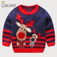Welaken 2018新しいファッション子供セーター漫画鹿ストライプ男の子女の子ニット冬プルオーバー幼児子供セーターシャツ