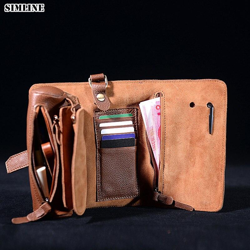 Men Real Leather Chain Handmade Vintage Checkbook Wallet Organizer Purse