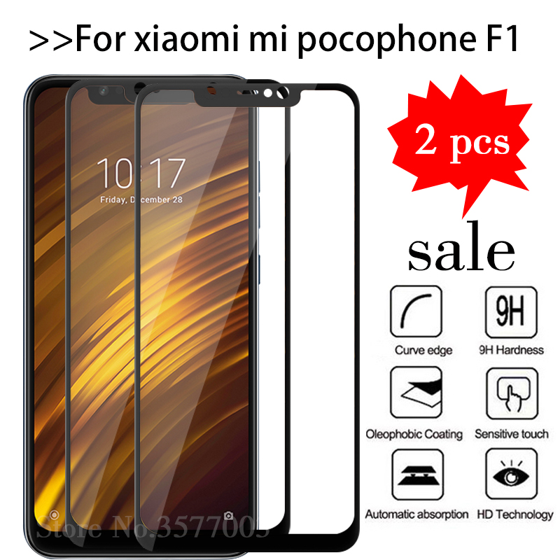 2pcs/lot Tempered Glass For Xiaomi Pocophone F1 Screen Protector Xiomi Pocofone F1 Mi Poco Phone F 1 Pocof1 Mif1 Protective Film