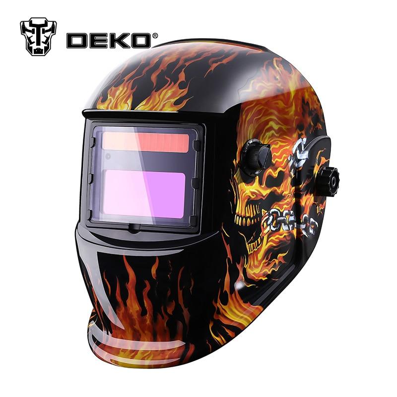 DEKOPRO Skull Solar Auto Darkening  MIG MMA Electric Welding Mask/Helmet/welder Cap/Welding Lens for Welding Machine welding helmet welder cap for welding equipment chrome for free post