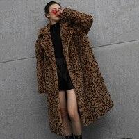 Leopard Print Faux Fur Coat 2019 Winter Warm Luxury Teddy Plush Overcoat Vintage Thicker Streetwear Woman Long Fur Coats