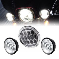 Set of 7 105w Round LED Projector Daymaker Headlight + 4.5 Passing Lights For Harley Touring