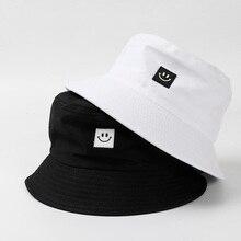 Для мужчин Для женщин смайлик ведро шляпа хлопковая одежда с принтом в стиле «хип-хоп» Рыбацкая шляпа, Панама для защиты от солнца летом Открытый Уличный Повседневное козырек Кепка с покрывалом