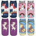 Criativo 3D Impresso Bonito meias de algodão arte dos desenhos animados little pony cavalo e Unicórnio Do Arco 2017 meias harajuku japonês
