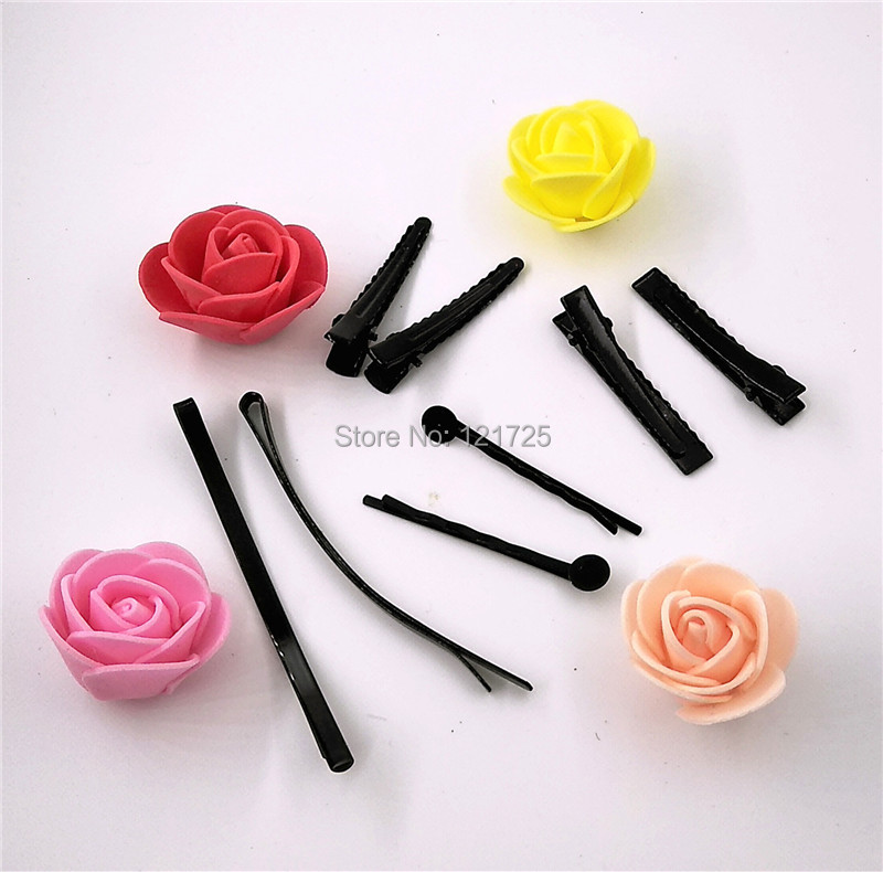 artificial flowers head Black Hair clip iron clamp hairpin headband hair accessories hairpin DIY flowers