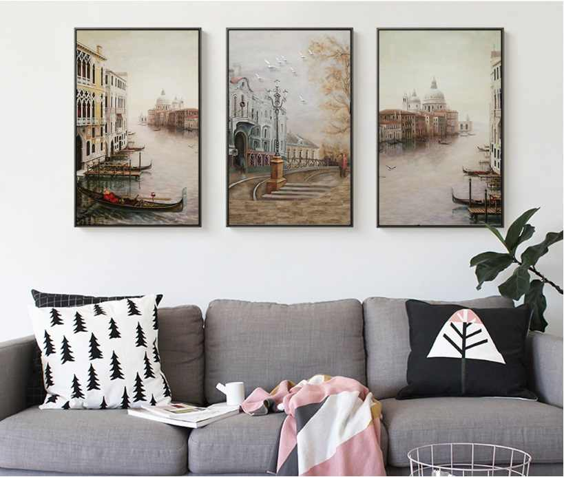 Water City Landscape Canvas Paintings Modular Pictures Wall Art Canvas for Living Room Home Decoration No Framed HD Posters