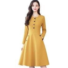 2019 Women Casual Buttons Dress Short Long Sleeve Fashion Vintage Midi Vestidos