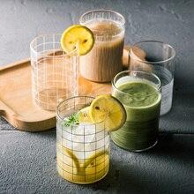Набор из 6 шт. Минималистичная прозрачная стеклянная чашка в полоску, дизайнерское пиво, сок, чашка для молока для семьи, стеклянная кружка для воды, посуда для напитков