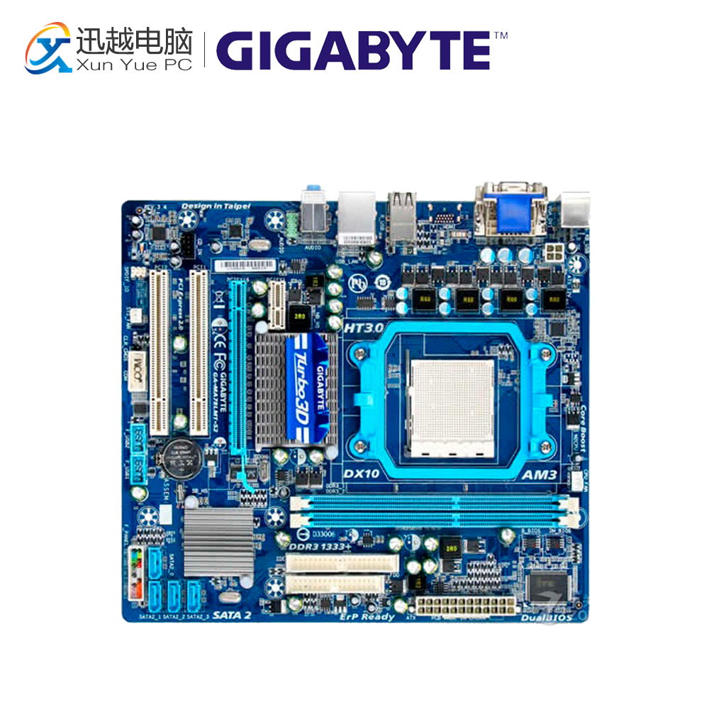 Gigabyte GA-MA78LMT-S2 Desktop Motherboard 760G Socket AM2 DDR2 SATA2 USB2.0 Micro ATX for gigabyte ga ma78g ds3hp original used desktop motherboard for amd 780g socket am2 for ddr2 sata2 usb2 0 atx