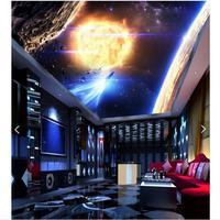 3D hình nền tùy chỉnh 3d trần bức tranh nền năng lượng mặt trời hệ thống hành tinh bức bích họa giấy tường 3d phòng khách ảnh nền