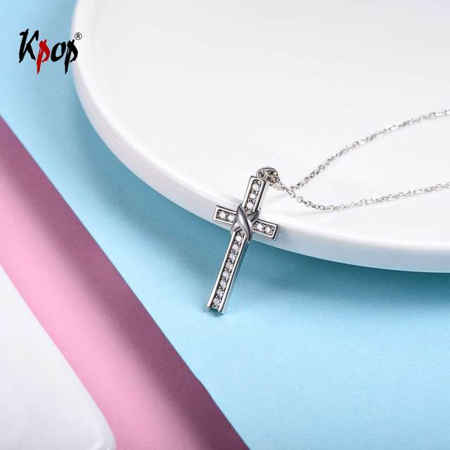 Kpop 925 sterling silver cross necklaces cubic zirconia crucifix kpop 925 sterling silver cross necklaces cubic zirconia crucifix christian simple cross pendant necklace for women aloadofball Image collections